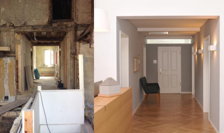 Beispiel einer gelungenen Sanierung / Vorher-Nachher-Beispiel Innenräume